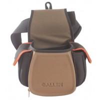 сумка Allen для патронов с доп. карманами для наушников, очков, чоков (на пояс), цвет кофе/черный