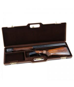 кейс Negrini для гладкоствольного оружия, длина стволов до 940 мм, темно-серый, отделка коричневая кожаная, с отделениями, коричневый вельвет, код. замок