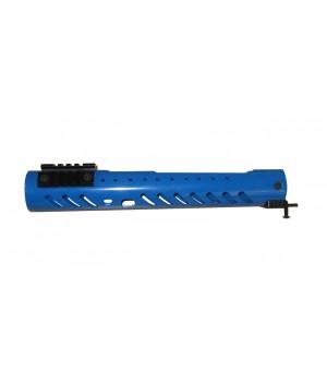 """Цевье тактическое """"Малка"""" круглое, тип Вепрь 12, сплав Д16Т, 3 планки (4 шага), сплав В95, длина 300мм., синее"""