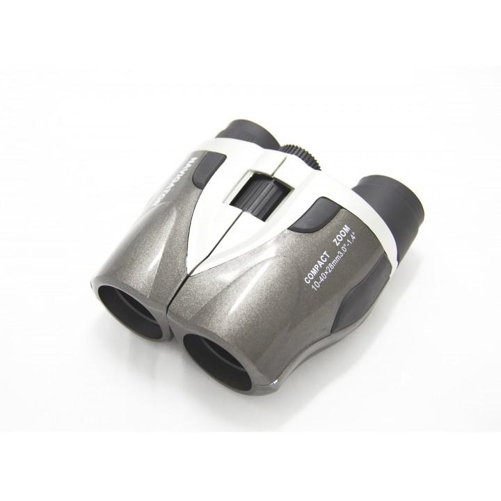 Бинокль Navigator 10-40х28 серебристо-серый, компактный