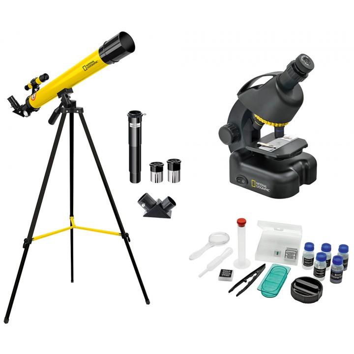 Набор Bresser National Geographic: телескоп 45/600 AZ и микроскоп 40–460x