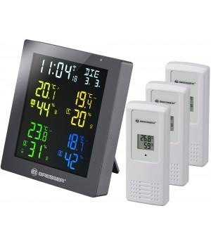Гигрометр Bresser ClimaTemp Hygro Quadro с тремя датчиками, серый