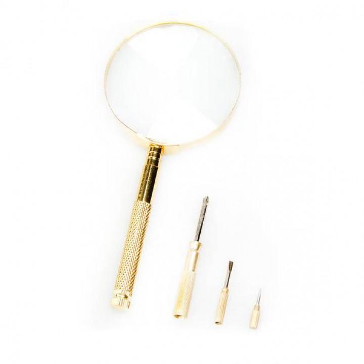 Лупа с ручкой и отвертками Veber 599911 3x